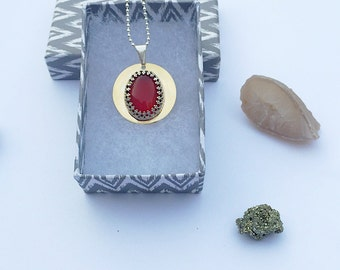 Carnelian Pendant Necklace, Sterlin Silver and Brass Necklace