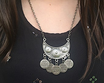 Antiqued Silver Plated Coin Necklace, Turkish Ethnic Coin Necklace, Gypsy Coin Necklace, Bihemian Statement Necklace