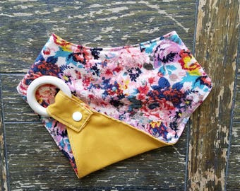 Floral and Mustard Reversible Interchangeable Teething Bib