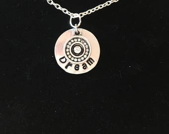 Dream stamped necklace with circle charm