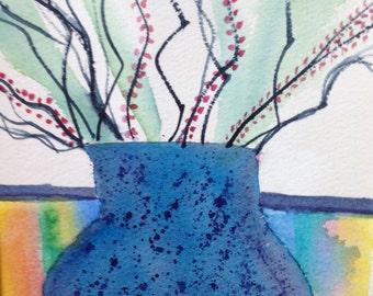 Blue Pot with Sticks