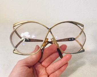 3936b195d0e Vintage 1970s Christian Dior Butterfly 2056 gold eyeglass frames