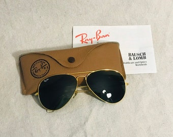85ddfc72ab Vintage Ray Ban Bausch   Lomb Aviator Sunglasses L2846 with case