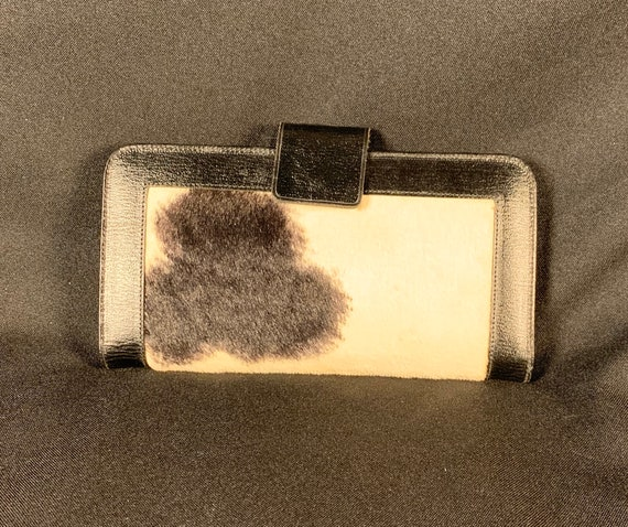 Vintage 1960s Baronet leather cow print fur wallet