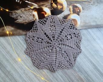 Gray crochet doily, Handmade doily, Crochet lace doily, Wedding/home decor, Crochet placemat , Made in Canada
