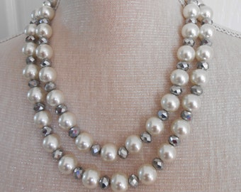 Pearl necklace: Two strands, ivory glass pearls, Bridesmaid Gifts, Brides jewelry, Bridal jewelry, pearl wedding, wedding jewelry