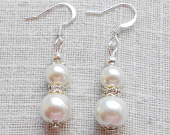 Set of 3 pairs Ivory earrings, pearl earring, bridal earrings, ivory pearl, bridesmaid gift, bridesmaid earrings, ivory bridesmaid, wedding