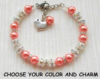 Bride to be, bride to be charm, bride to be bracelet,bride to be jewelry, pearl bracelet, pearl jewelry, bling bracelet, bling jewelry