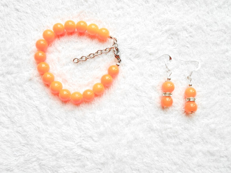 Jewelry party orange jewelry set Handmade glass beads Gift ideas Anniversary gifts bracelet and earrings Orange Set with necklace