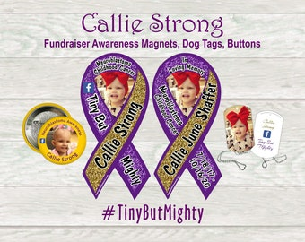 Callie Strong cancer awareness magnets, dog tags, buttons - fundraiser