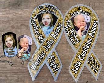 Julia Adams Cancer Fund awareness magnets and dog tags
