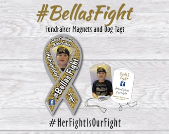 Bella's Fight awareness magnets and dog tags