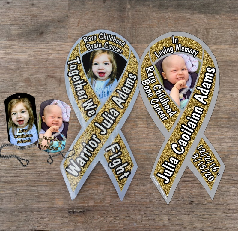 Julia Adams Cancer Fund awareness magnets and dog tags image 0