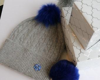 54f9b89fa77 Pom Pom chapka bonnet Cachemire laine mélangée tricoté