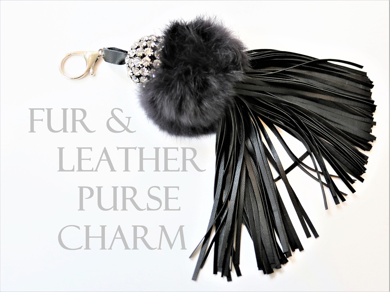 Fur Pom Pom Key Chain Purse Charm Leather Tassel Key Chain  dd59bf70fb