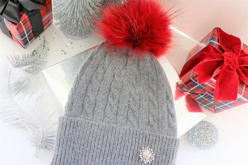 0a74321d5db Pom Pom chapka bonnet laine de Cachemire pour femmes en
