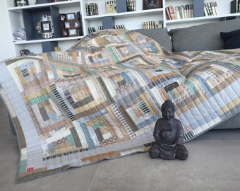Handmade Loft, Patchwork Quilt Log Cabin,Double,King or Queen Bed Throw, Blanket, BedSpread,Natural color