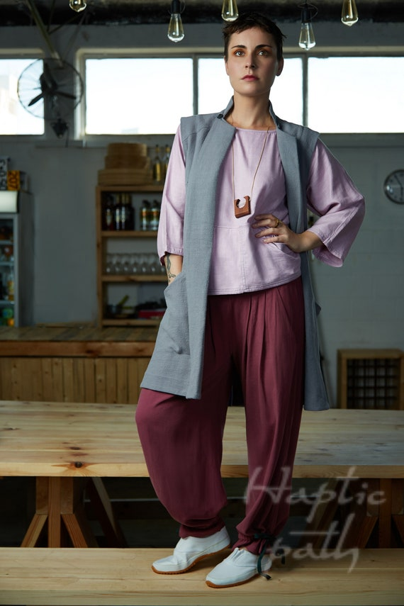 shipping Samurai vest by path Ethnic Free pockets Haptic vest with Gray coat Sleeveless clothing clothes jacket Long Ethical TXqOYw