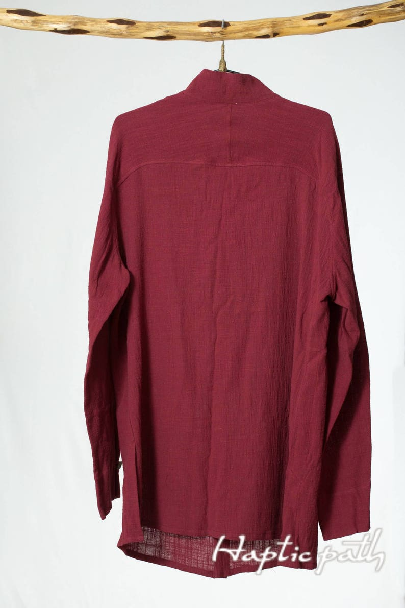 elegant casual long sleeve/'s shirt designer/'s ethical men/'s shirt Hemp burgundy colour button-down shirt relaxed minimalist shirt