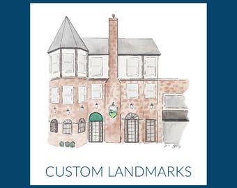 Custom Watercolor & Ink Landmark/House Portrait