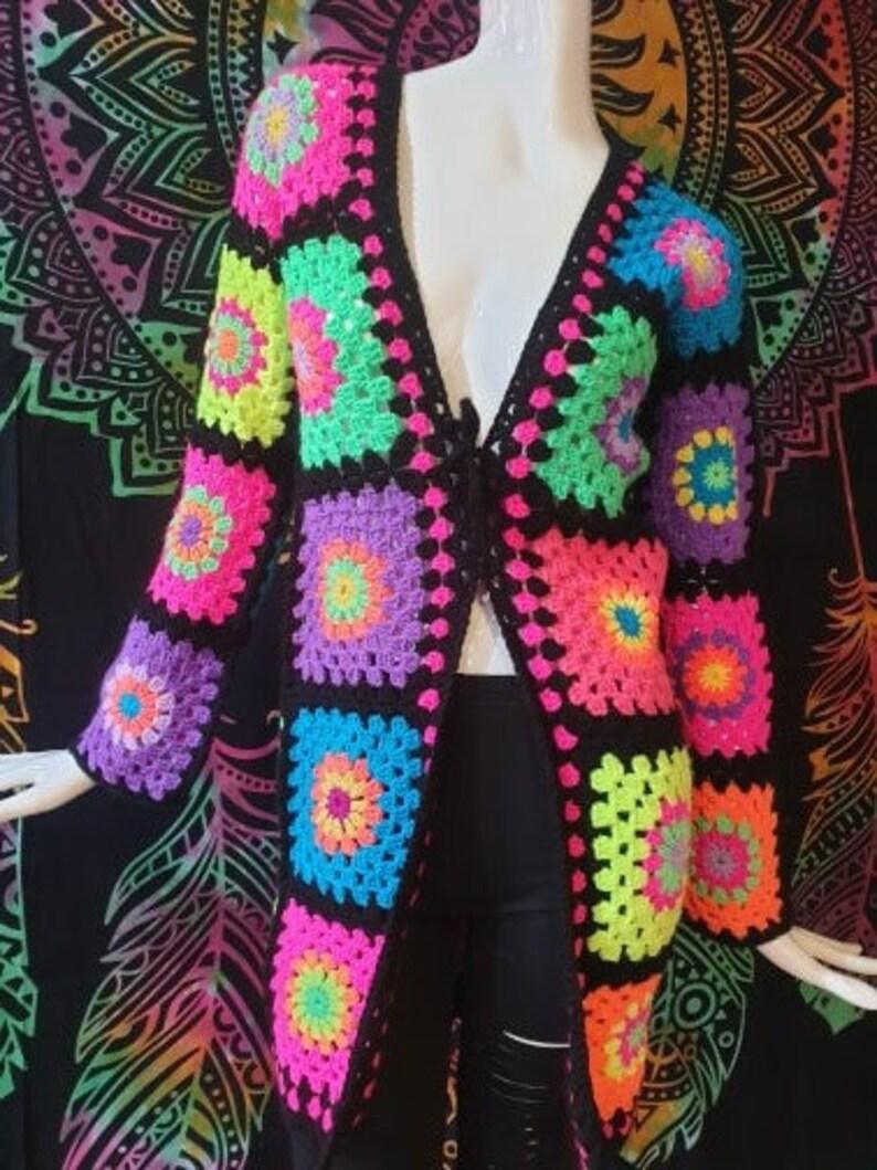 Granny Square Cardigan, Boho Cardigan, Long Sleeved Cardigan, Crochet Afghan Sweater, Colourful Hippie Jacket, Rainbow Jacket