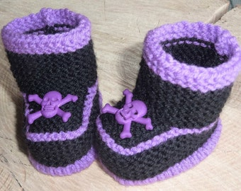 Knitted Baby Booties, Baby Punk Booties, Gothic Baby Booties, Hand Knitted Baby Boots, Knitted Baby Booties