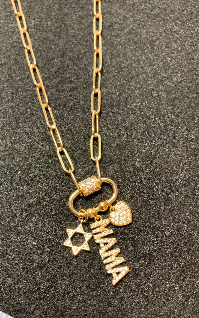 Heart Necklace Star of David Star necklace Carabiner Charm Jewish Charm Necklace Carabiner Charmed Necklace Mom pendent necklace