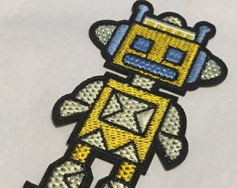 Yellow Robot  Iron on Patch Embroided High Quality Adhesive Back