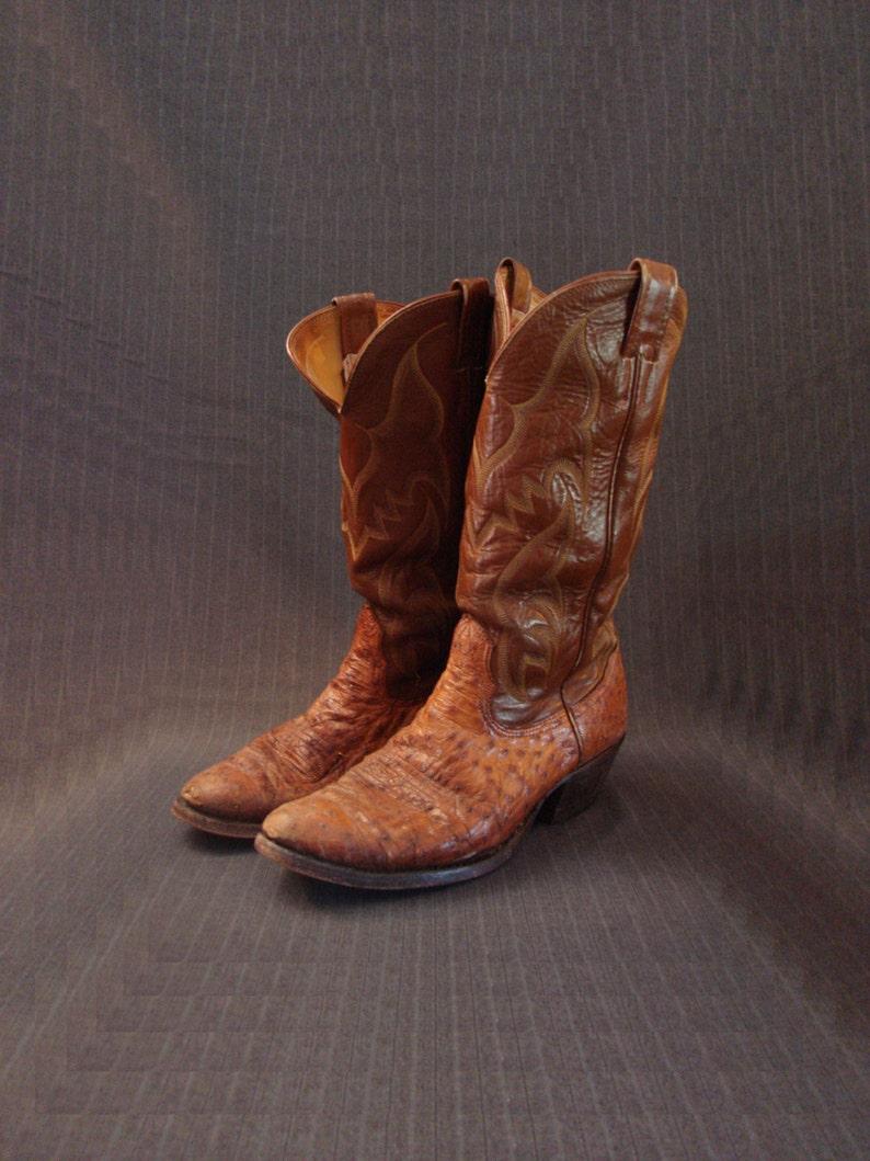 f6cb81db563 Nocona Ostrich Skin Boots, Cognac, Full Quill [Vintage]