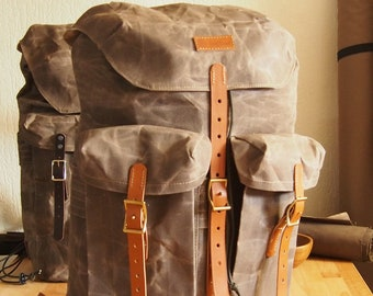 Waxed Canvas Rucksack, Backpack for bushcraft , hiking , camping, every day use