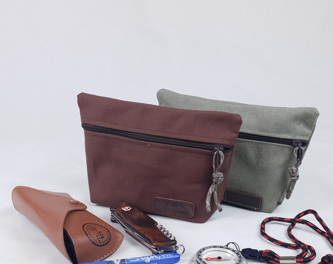 Canvas pouch, multipurpose bag, small dopp kit, travel organization case.