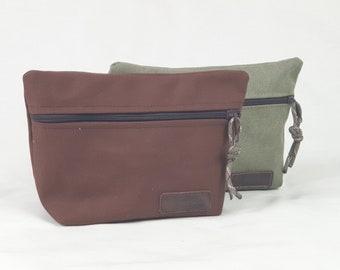Canvas pouch, multipurpose bag, dopp kit, travel organization case.