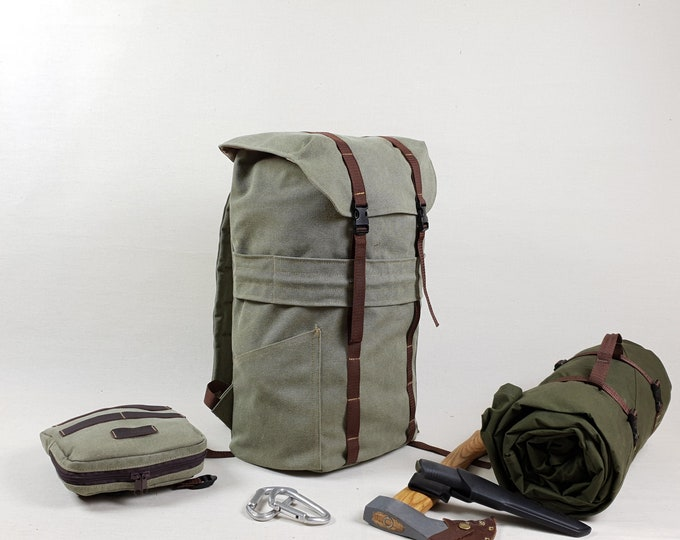 Bushcraft Pack, 14oz Canvas Backpack 23l, Heavy duty rucksack