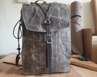 Women & Men Waxed Canvas backpack, Day pack, Travel bag, Khaki water resistant everyday bag