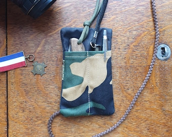 EDC pocket slip in black & woodland cammo ,  cotton canvas, pocket organizer