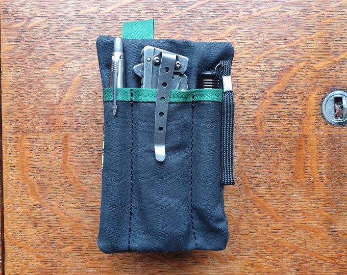 EDC pocket slip organizer, for pocket knife, pen, slim flashlight, money bills and cards