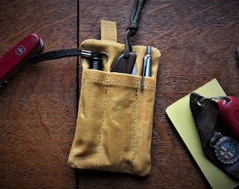 Mustard yellow Every day carry organizer , Waxed canvas wallet, gift for men and women