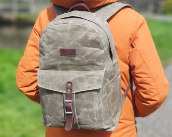 Wax Canvas Backpack, Waxed Canvas EDC Leather Backpack, Canvas Rucksack, Classic School Backpack, Wax Canvas Bag Khaki, Brown, Green & Black