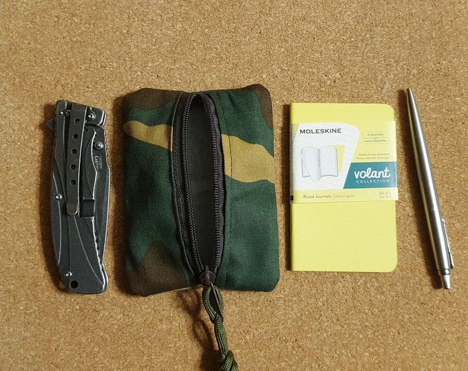 EDC pocket slip in woodland cotton canvas, pocket organizer