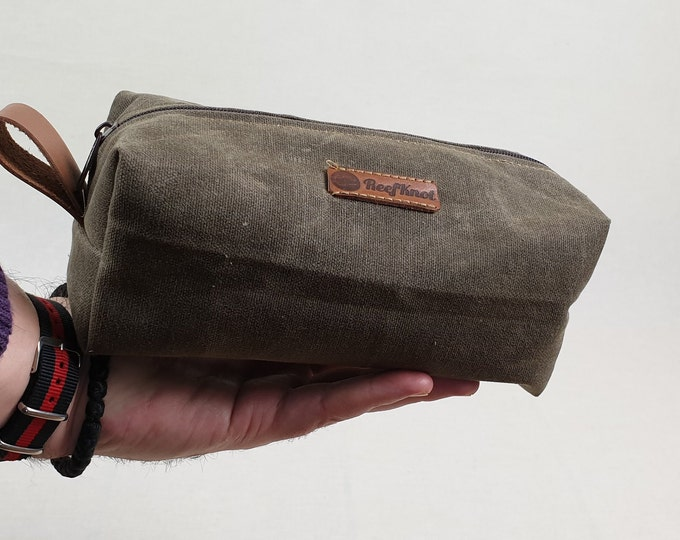 Box pouch, DOPP Kit , Travel toiletry waxed canvas bag,