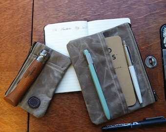 Waxed Canvas Front pocket EDC organizer, & writing gear pouch set