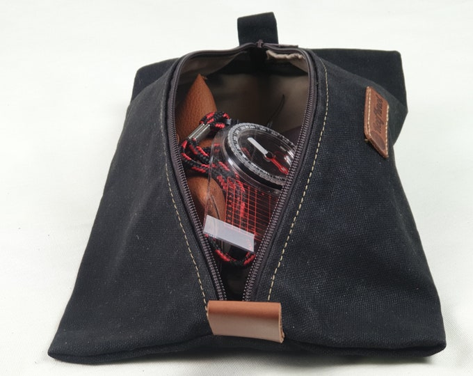 Waxed Canvas pouch to be used as dopp kit or travel gear bag and or as headphone and cables carrier
