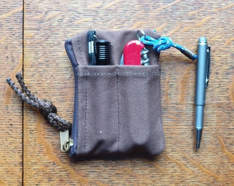 Front pocket EDC organizer, 18 oz canvas gear pouch, wallet with zipper compartment