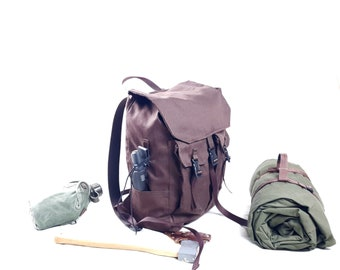 The Reefknot Master Scout Rucksack, Canvas Backpack 15l, Brown canvas bushcraft pack,