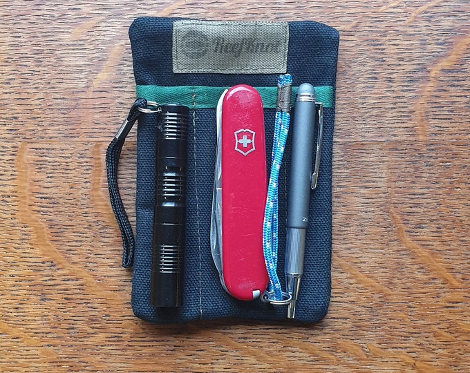 EDC pocket slip organizer, for pocket knife, pen, slim flashlight, money bills and cards