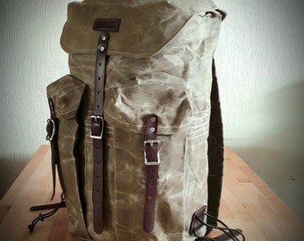 Waxed Canvas Backpack, The Bushcrafter 30L pack heavy duty waxed canvas, Rucksack, Hiking Bag, Camping Bag.