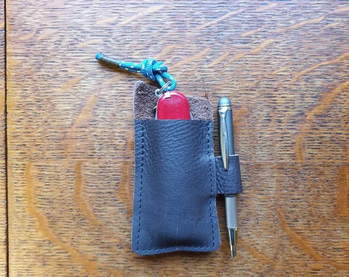 Leather pocket organizer, EDC leather slip, Pocket knife & pen sheath