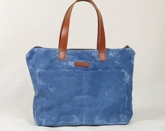 Blue canvas handbag, Shopping bag, Cotton canvas bag, Unisex waxed canvas tote