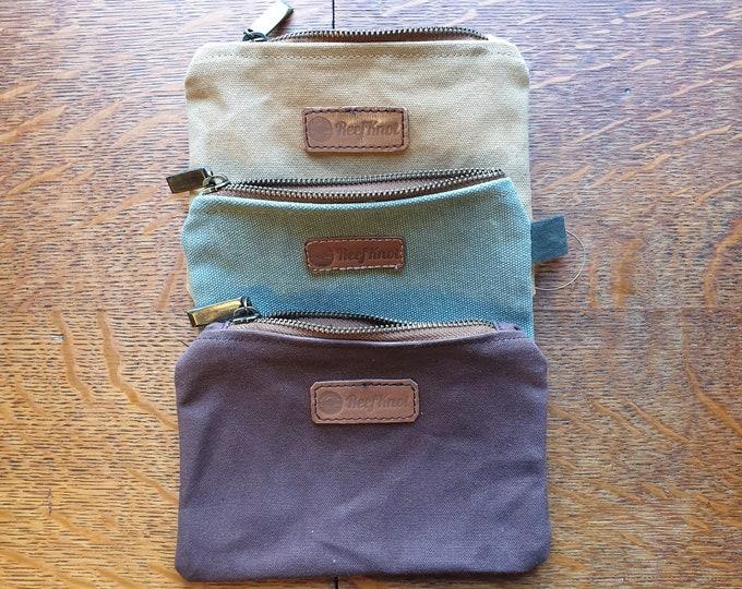 Canvas pouch, metal zipper wallet, travel organizer, EDC