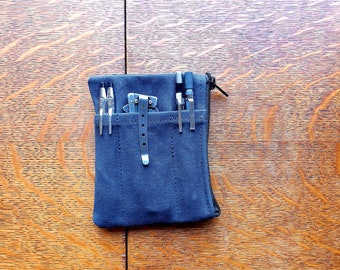 EDC organizer large, canvas gear pouch, wallet with zipper compartment